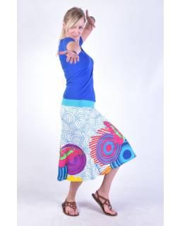 """Bílá sukně ke kolenům """"Jamy"""" s barevným potiskem, pružný pas"""