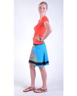 """Krátká modrá sukně """"Britany"""" s barevným potiskem, pružný pas"""