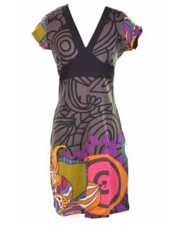 """Šedé šaty s krátkým rukávem a výstřihem do V """"Melisa """", barevný potisk"""