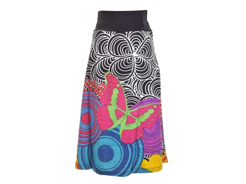 """Černo-bílá sukně ke kolenům """"Jamy"""" s barevným potiskem, pružný pas"""