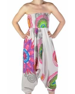 """Bílé turecké kalhoty-overal-halena 3v1 """"Mandala"""", barevné mandaly, žabičkování"""