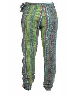 """Pohodlné dlouhé kalhoty s potiskem """"Ally"""", zelené, zavazovací pásek"""