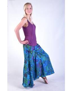 """Modré zvonové kalhoty s potiskem, """"Patchwork design"""", elastický pas"""
