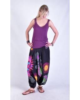 """Černé turecké kalhoty-overal-halena 3v1 """"Mandala"""", barevné mandaly, žabičkování"""