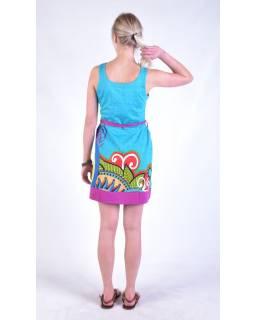 """Tyrkysové šaty bez rukávu """"Jenna """" s barevným potiskem, pásek"""
