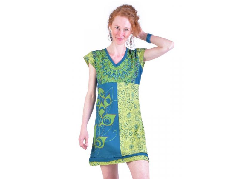 Krátké petrolejovo-zelené šaty s krátkým rukávem, mix tisků a výšivka