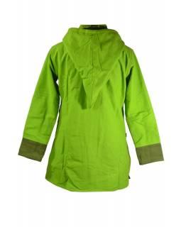 Zelený asymetrický kabát s kapucí, výšivka ještěrky, zapínání na zip, kapsy
