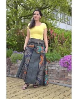 """Dlouhá šedo-hnědá oboustranná sukně """"Flower Mandala"""", zapínání na patentky"""