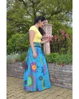 """Dlouhá tyrkysová oboustranná sukně """"Flower Mandala"""", zapínání na patentky"""