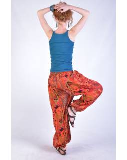 """Oranžové balonové kalhoty s potiskem, """"Patchwork design"""", elastický pas"""