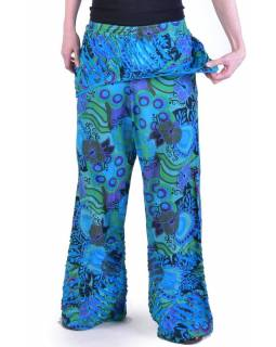 """Tyrkysové zvonové kalhoty s potiskem, """"Patchwork design"""", elastický pas"""