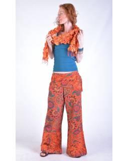 """Oranžové zvonové kalhoty s potiskem, """"Patchwork design"""", elastický pas"""