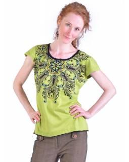 Limetkově zelené tričko s krátkým rukávem a mandalou, barevná výšivka
