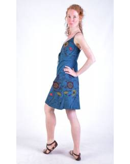 Petrolejové krátké šaty na ramínka, potisk květin a výšivka