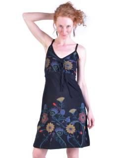 Černé krátké šaty na ramínka, potisk květin a výšivka