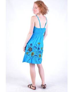 Tyrkysové krátké šaty na ramínka, potisk květin a výšivka
