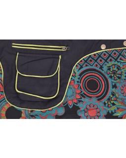 Krátká černá sukně zapínaná na patentky, kapsa, flower print