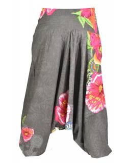 """Šedé turecké kalhoty-overal-halena 3v1 """"Caly"""", barevné květiny, žabičkování"""