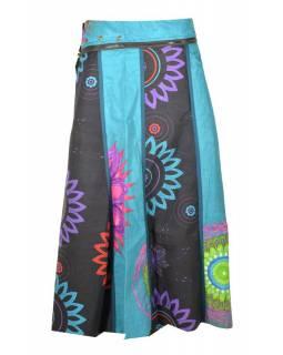 """Dlouhá tyrkysovo-šedá oboustranná sukně """"Flower Mandala"""", zapínání na patentky"""