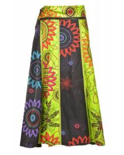 """Dlouhá šedo-zelená oboustranná sukně """"Flower Mandala"""", zapínání na patentky"""
