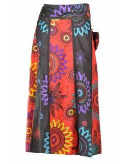 """Dlouhá šedo-červená oboustranná sukně """"Flower Mandala"""", zapínání na patentky"""