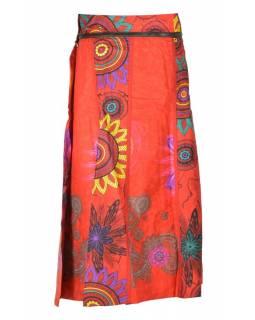 """Dlouhá červená oboustranná sukně """"Flower Mandala"""", zapínání na patentky"""