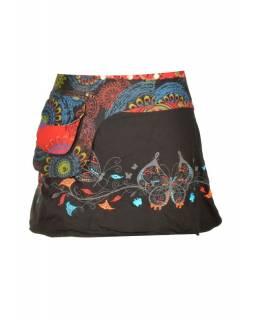 Černá mini sukně zapínaná na patentky, kapsa, butterfly potisk a výšivka