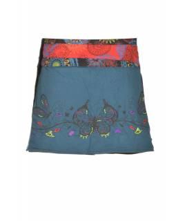 Petrolejová mini sukně zapínaná na patentky, kapsa, butterfly potisk a výšivka