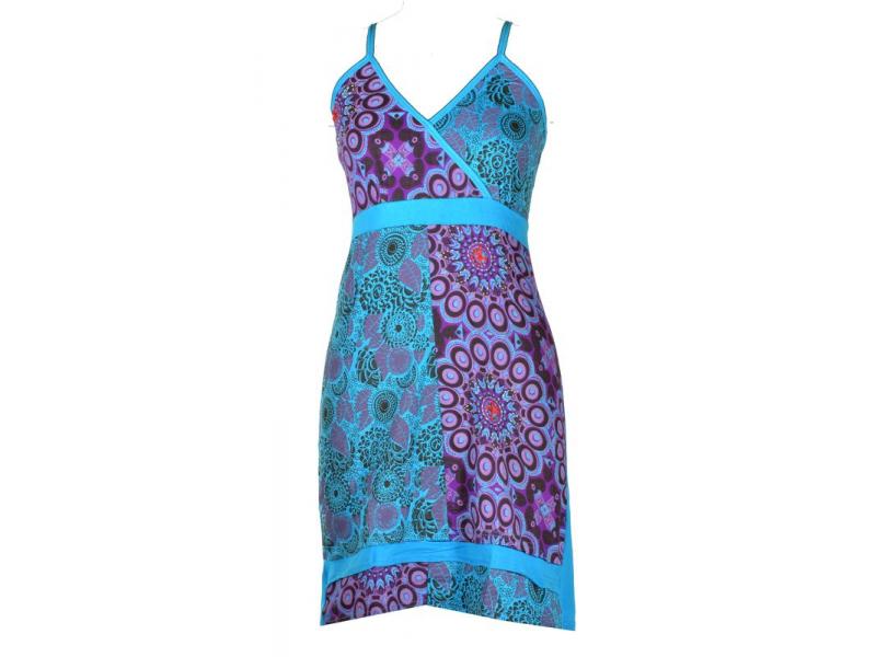 Modro-fialové krátké šaty na ramínka, mix potisků