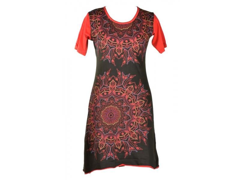 Krátké červeno-šaty s krátkým rukávem, mandala potisk a výšivka