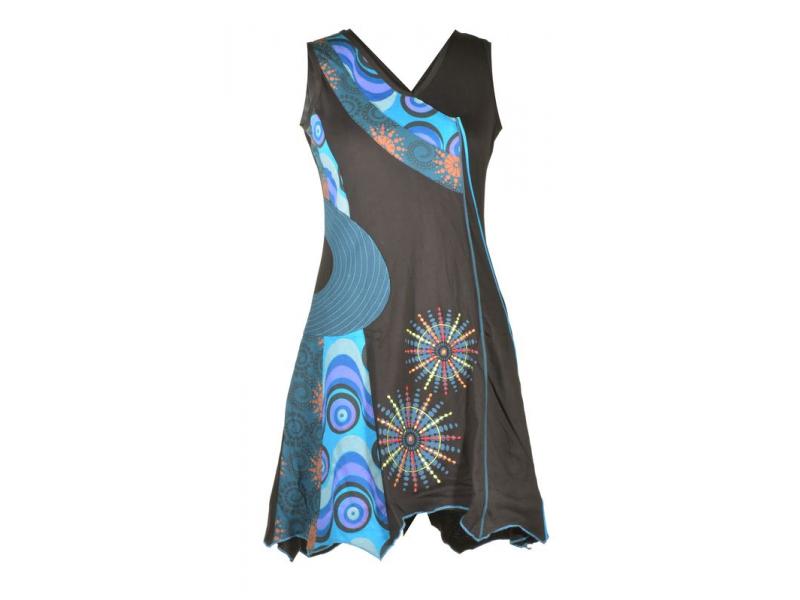 Krátké černo-modré šaty bez rukávu, cípy, potisk a výšivka