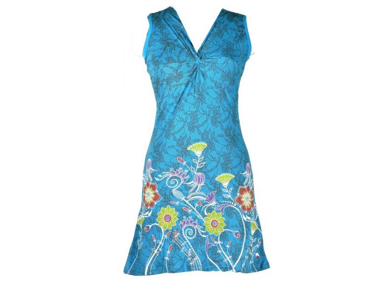 """Krátké tyrkysové šaty bez rukávu, """"Lace design"""", květinový potisk, výšivka"""