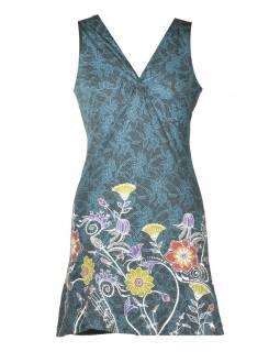 """Krátké černo-modré šaty bez rukávu, """"Lace design"""", květinový potisk, výšivka"""