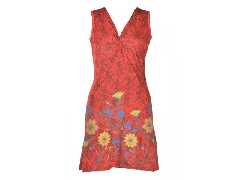 """Krátké červené šaty bez rukávu, """"Lace design"""", květinový potisk, výšivka"""