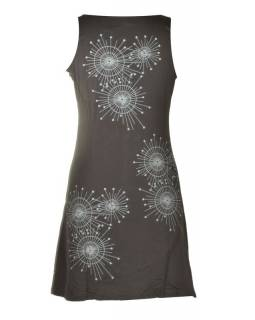 Krátké černé šaty bez rukávu, mandala potisk a výšivka, V výstřih