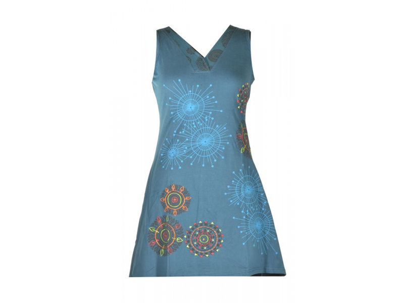 Krátké petrolejové šaty bez rukávu, mandala potisk a výšivka, V výstřih