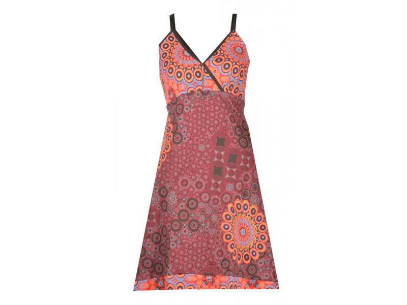 Vínovo-oranžové krátké šaty na ramínka, mix potisků, výšivka