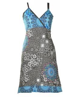 Šedo-modré krátké šaty na ramínka, mix potisků, výšivka