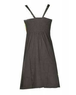 Černo-zelené krátké šaty na ramínka, barevný mandala potisk