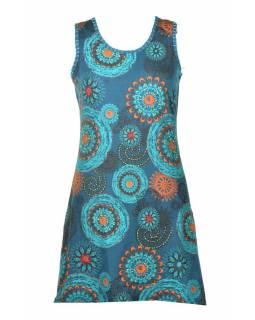 Krátké petrolejové šaty bez rukávu, barevný mandala potisk
