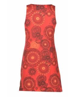 Krátké červené šaty bez rukávu, barevný mandala potisk