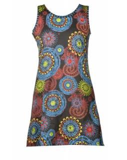 Krátké černé šaty bez rukávu, barevný mandala potisk