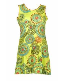 Krátké zelené šaty bez rukávu, barevný mandala potisk