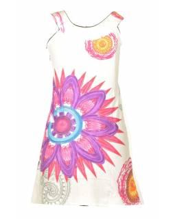 """Bílé šaty bez rukávu """"Mandala"""", barevný potisk"""