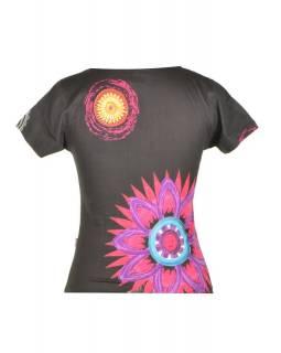 Černé tričko s krátkým rukávem, Mandala potisk, kulatý výstřih