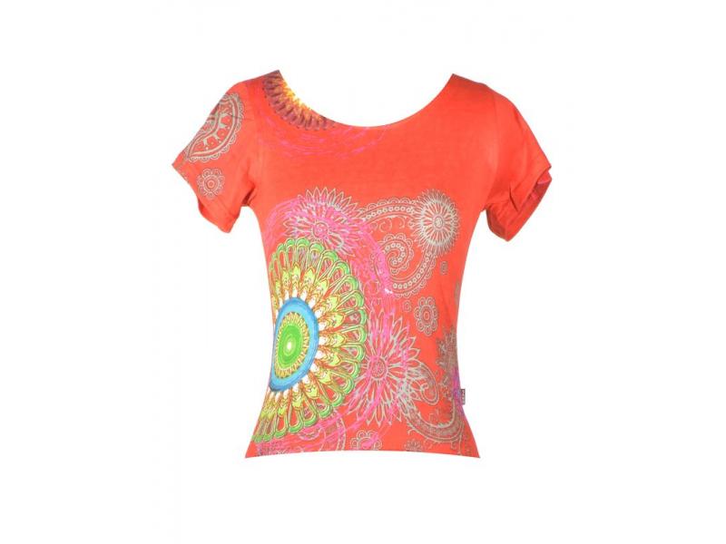 Červené tričko s krátkým rukávem, Mandala potisk, kulatý výstřih