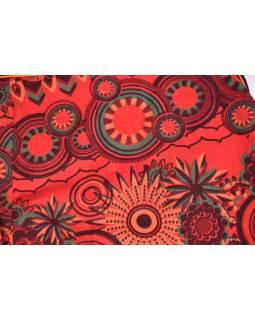 Krátká červená sukně zapínaná na patentky, kapsa, flower print