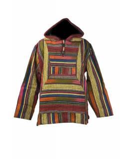 Pánská bunda s kapucí, multibarevné pruhy, kapsa na břiše