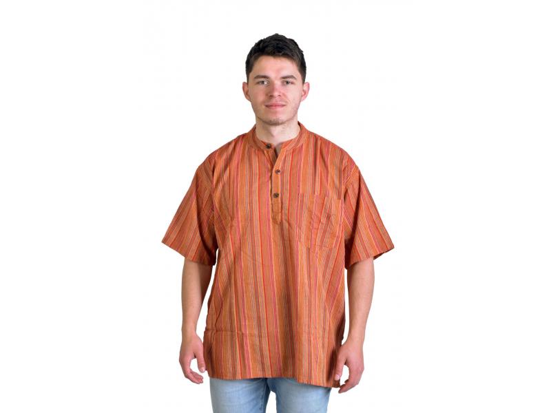 Pruhovaná pánská košile-kurta s krátkým rukávem a kapsičkou, oranžová
