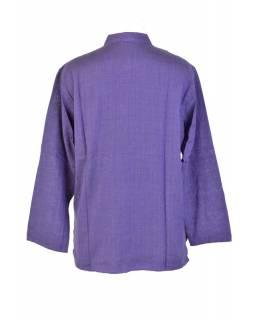 Fialová pánská košile-kurta s dlouhým rukávem a kapsičkou